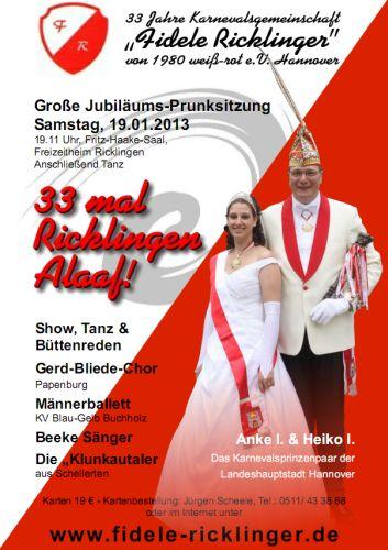 Prunksitzung 2013: 33 mal Ricklingen Alaaf!