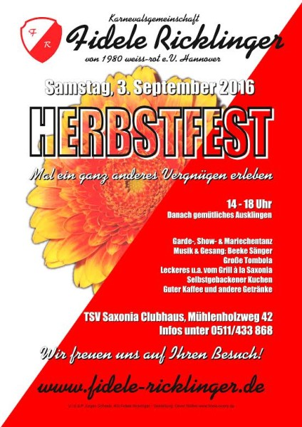 2. Herbstfest der Fidelen Ricklinger am 03.09.2016